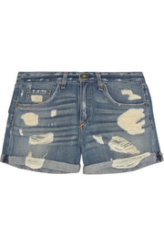 The Boyfriend distressed low-rise denim shorts