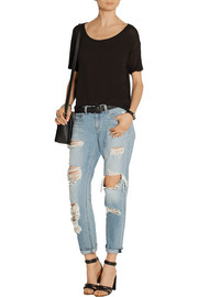 The Boyfriend distressed low-rise jeans