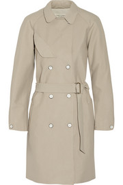 Port leather-trimmed cotton-blend piqué trench coat
