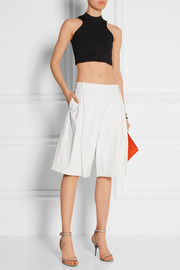 Pleated leather culottes