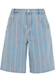 Striped denim culottes