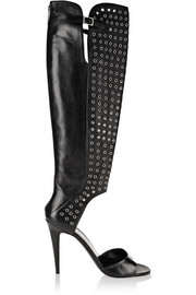 Wild Side embellished leather cutout knee boots