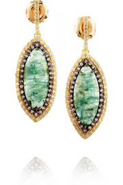 18-karat gold, emerald and diamond earrings