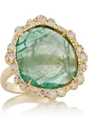 18-karat gold, emerald and diamond ring