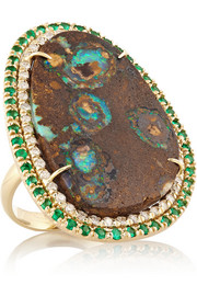 18-karat gold, Yowah Opal, emerald and diamond ring