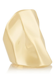 Crinkle gold-plated ring