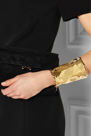 Crinkle gold-plated cuff