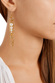 Kinship gold-plated pearl earrings