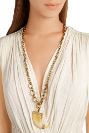 Cleo gold-plated resin talon necklace