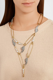 Kinship gold and silver-plated, crystal and faux pearl necklace