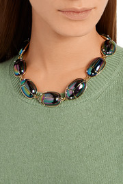 Scarab Procession lacquered gold-plated and faux pearl necklace