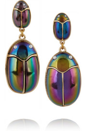 Scarab Pair lacquered gold-plated and faux pearl earrings