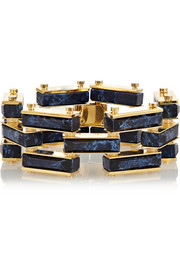 Garden Fence gold-plated, marble and howlite bracelet
