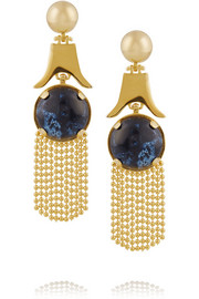 Lele Sadoughi Gazebo gold-plated, marble and howlite chandelier earrings