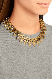 Stone Garland gold-plated, crystal, marble and howlite necklace