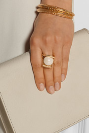 Pinball gold-plated faux pearl ring