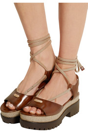 Kirstie leather and jute platform sandals