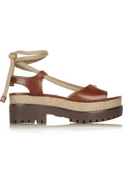 Michael Kors Kirstie leather and jute platform sandals