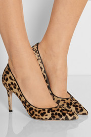 85 leopard-print calf hair pumps