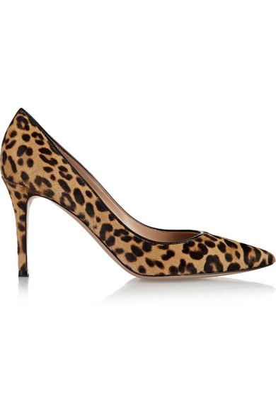 Gianvito Rossi - 85 Leopard-print Calf Hair Pumps - Leopard print