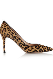 Gianvito Rossi 85 leopard-print calf hair pumps