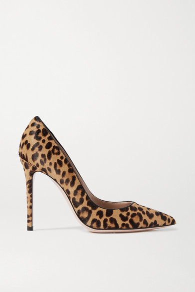 Gianvito Rossi - 105 Leopard-print Calf Hair Pumps - Leopard print