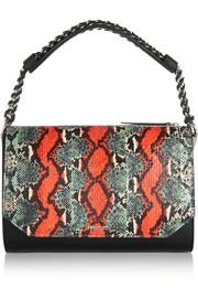 Elise elaphe and leather shoulder bag
