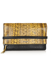 Phlox textured-leather and elaphe clutch