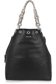 Lilla elaphe-trimmed leather shoulder bag