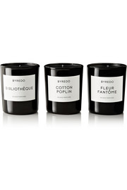 Byredo Bibliothèque, Cotton Poplin and Fleur Fantôme set of three mini candles