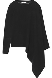 Helmut Lang Asymmetric ribbed cashmere poncho