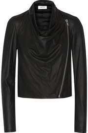 Draped leather biker jacket