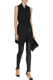 Draped stretch-cady vest
