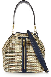 Cynnie leather-trimmed woven shoulder bag
