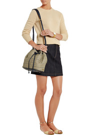 Elizabeth and James Cynnie leather-trimmed woven shoulder bag