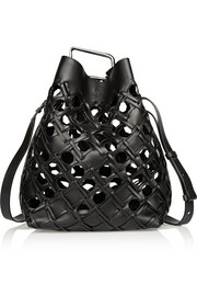 Quill cutout leather bucket bag