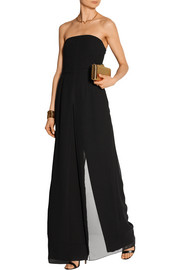 Halston Heritage Strapless chiffon-trimmed crepe jumpsuit