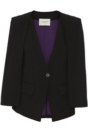 Cape-effect twill blazer