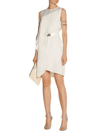 Halston Heritage Asymmetric satin-trimmed crepe dress
