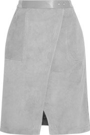 Suede wrap-effect skirt