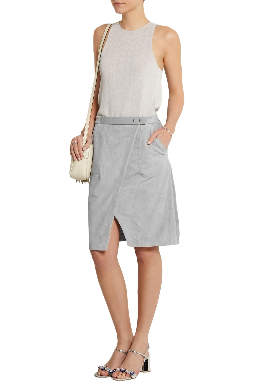Halston Suede wrap-effect skirt