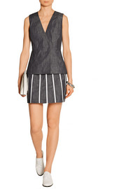 Victoria Beckham Denim Striped denim mini skirt