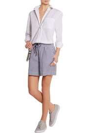 Victoria Beckham Denim Striped cotton-canvas shorts