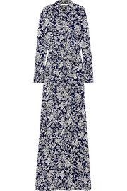 Amina printed silk-crepe maxi dress