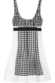 Daisy gingham jersey, satin-twill and piqué mini dress