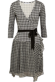 Riviera plaid silk-jersey and chiffon wrap dress