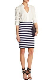 Walda striped knitted cotton pencil skirt