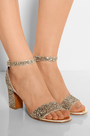 Leticia glitter-finished leather sandals