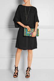 Lara embroidered cotton and acrylic clutch