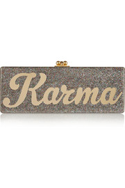 Flavia Karma glittered acrylic box clutch